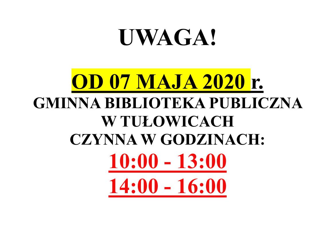 Nowe godziny otwarcia Gminnej Biblioteki Publicznej w Tułowicach.jpeg