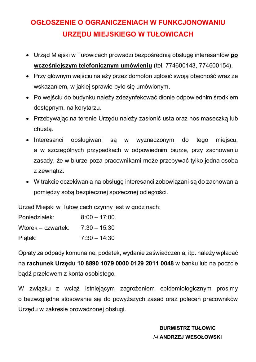 Ogłoszenie o ograniczeniach w funkcjonowaniu Urzędu Miejskiego w Tułowicach.jpeg