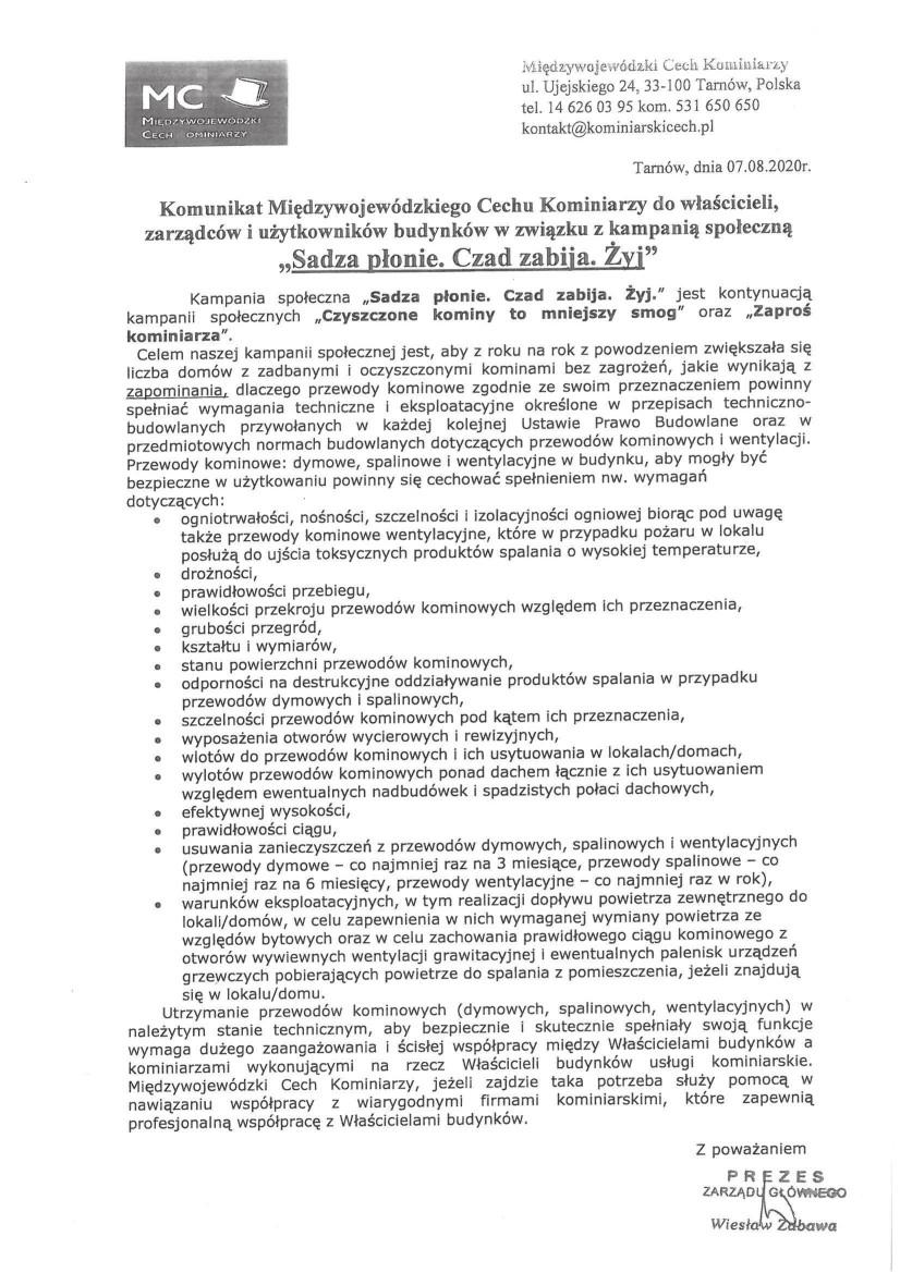 Komunikat Międzywojewódzkiego Cechu Kominiarzy z dnia 07.08.2020 r.jpeg
