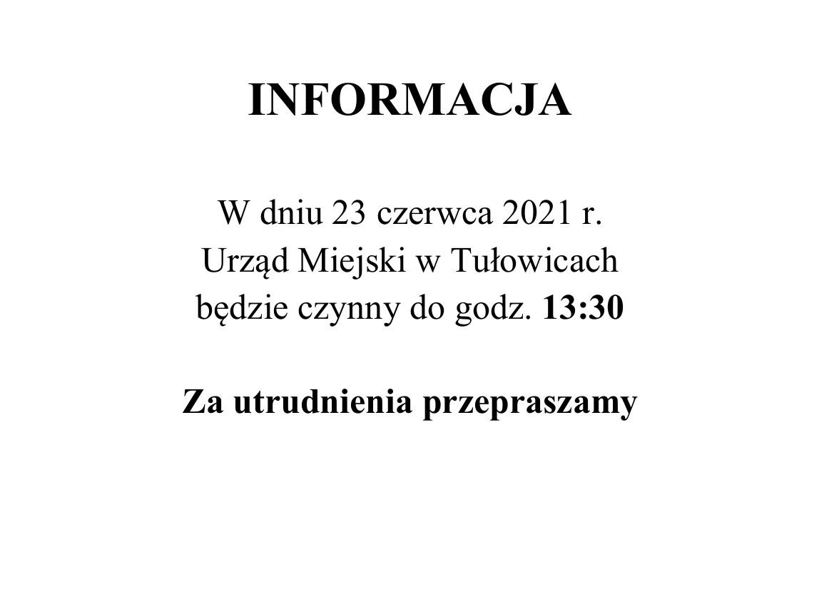 Zmiana godzin pracy Urzędu - 23.06.2021 r.jpeg