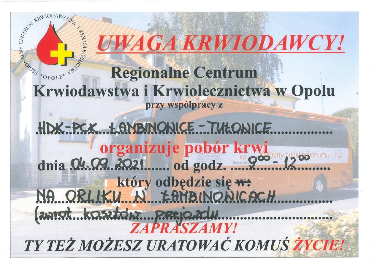 Komunikat Regionalnego Centrum Krwiodastwa i Krwiolecznictwa w Opolu z dnia 31.08.2021 r.jpeg
