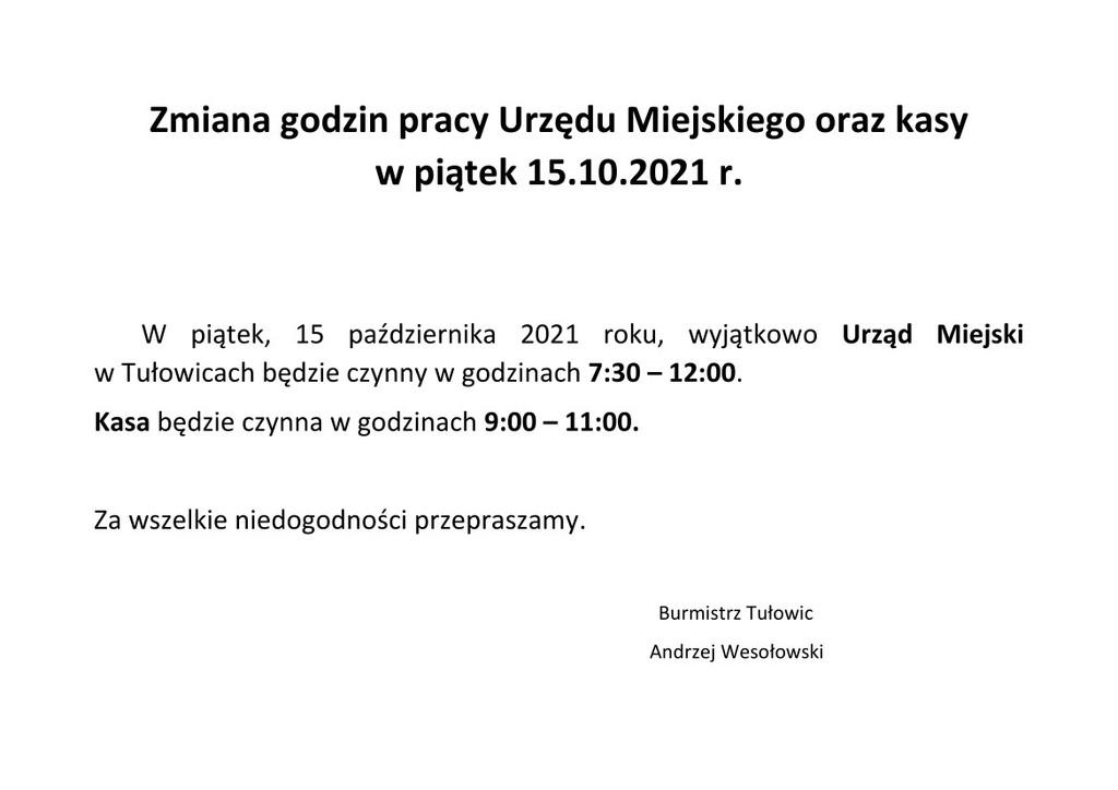 Zmiana godzin pracy Urzędu Miejskiego oraz kasy - 15.10.2021 r.jpeg