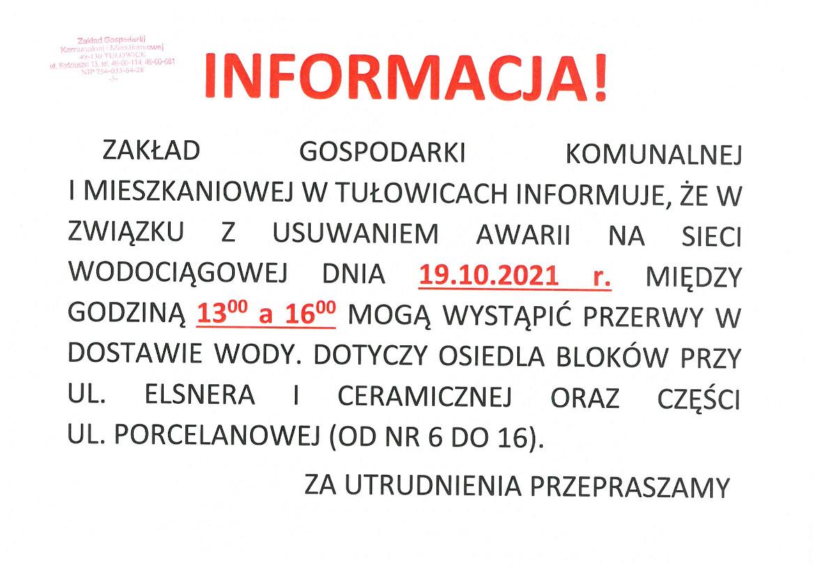Informacja Dyrektora ZGKiM w Tułowiacach z dnia 19.10.2021 r.jpeg