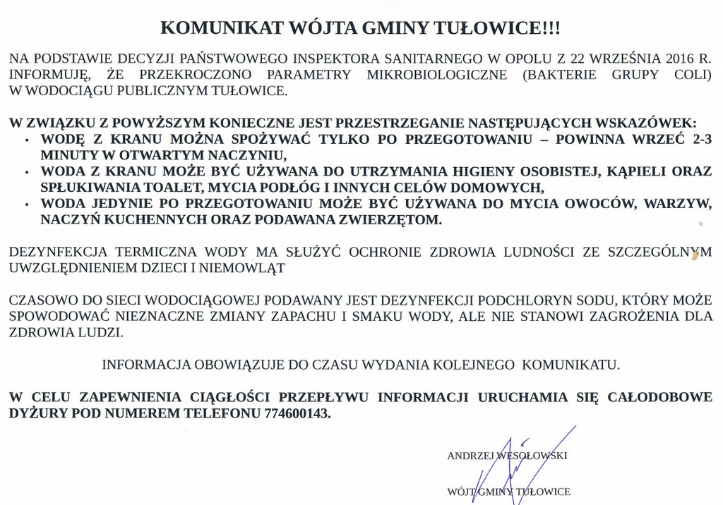 Komunikat Wójta Gminy Tułowice z dnia 22.09.2016 r.jpeg