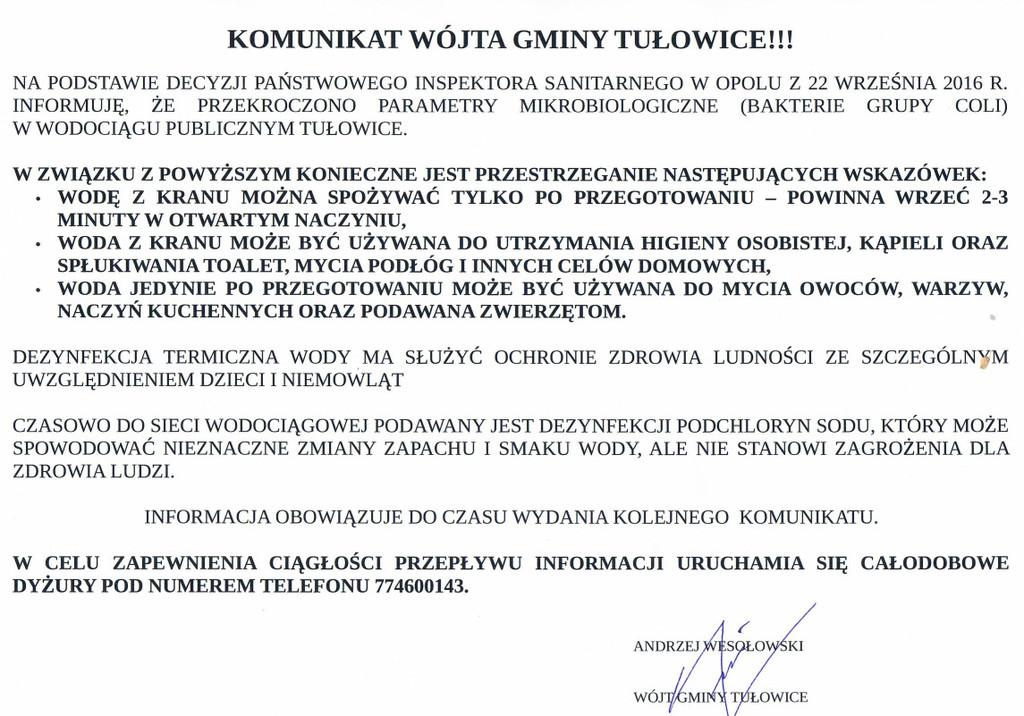 Komunikat Wójta Gminy Tułowice z dnia 22.09.2016 r.jpeg
