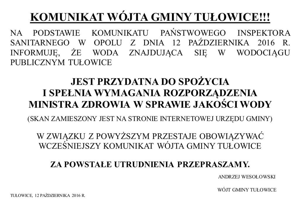 Komunikat Wójta Gminy Tułowice z dnia 12.10.2016 r.jpeg