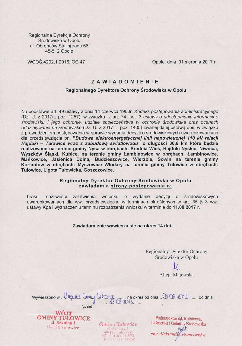 Zawiadomienie Regionalnego Dyrektora Ochrony Środowiska w Opole.jpeg