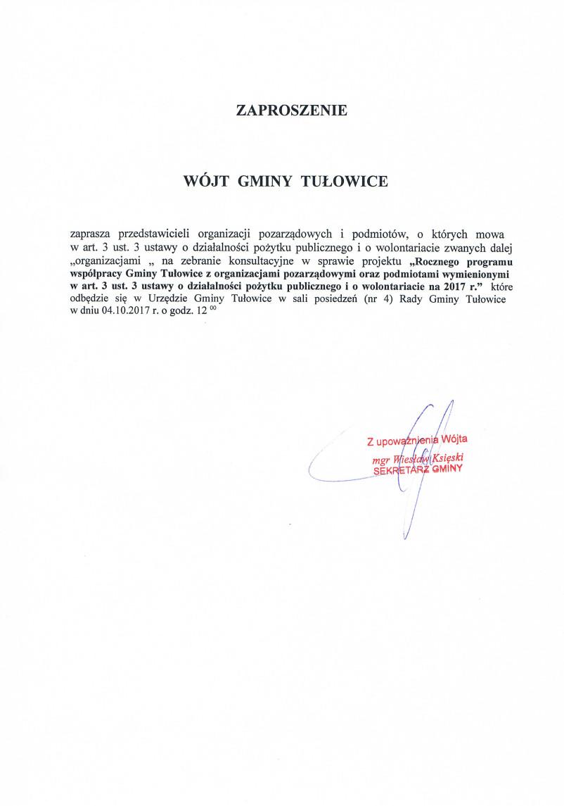 Zaproszenie Wójta Gminy Tułowice z dnia 20.09.2017 r.jpeg