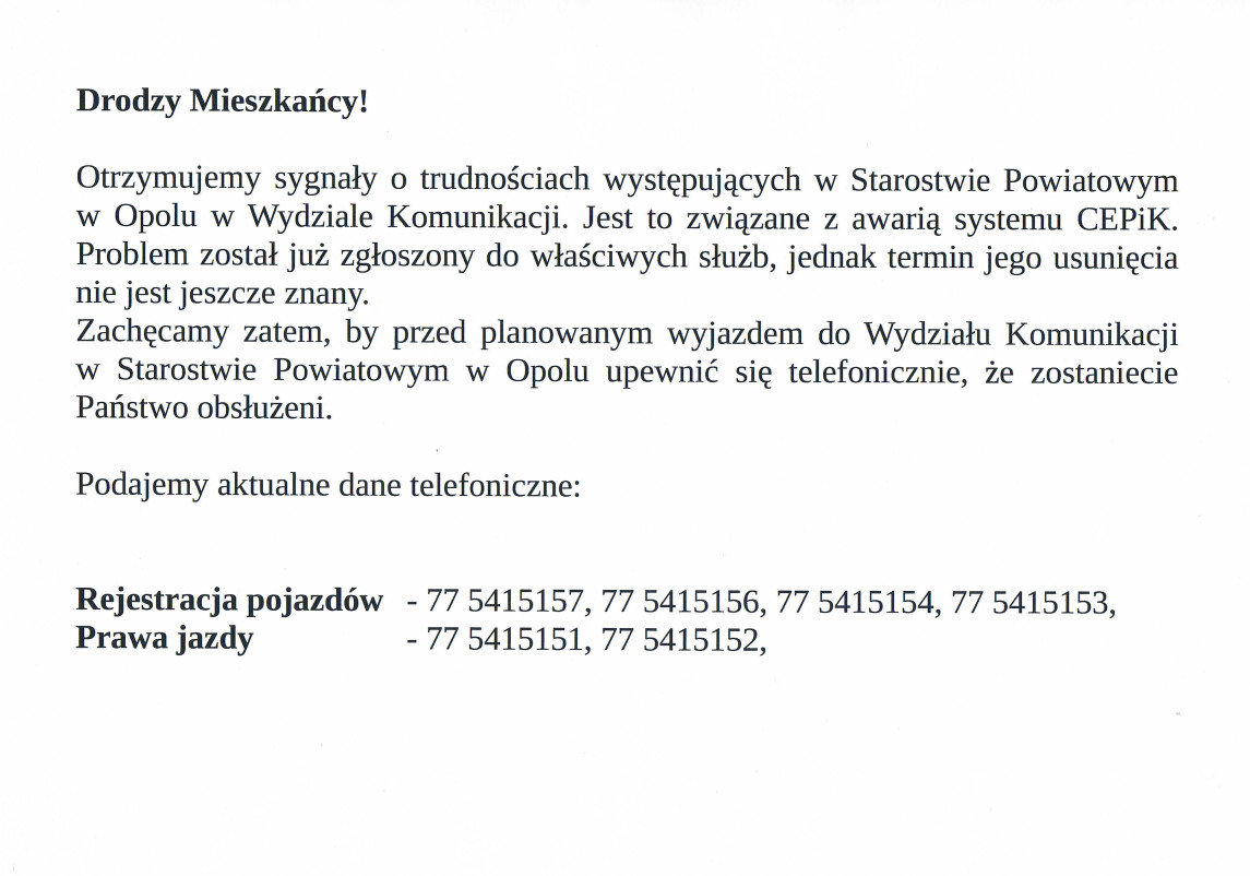 Informacja o utrudnieniach w Wydziale Komunikacji Starostwa Powiatowego.jpeg