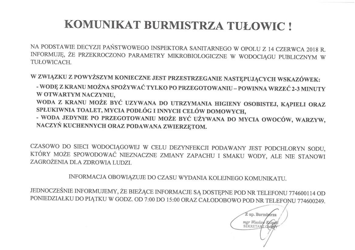 Komunikat Burmistrz Tułowic z dnia 14.06.2018 r.jpeg