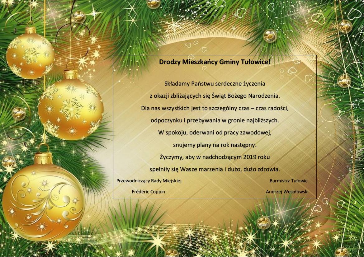 życzenia Z Okazji świąt Bożego Narodzenia Urząd Miejski W Tułowicach