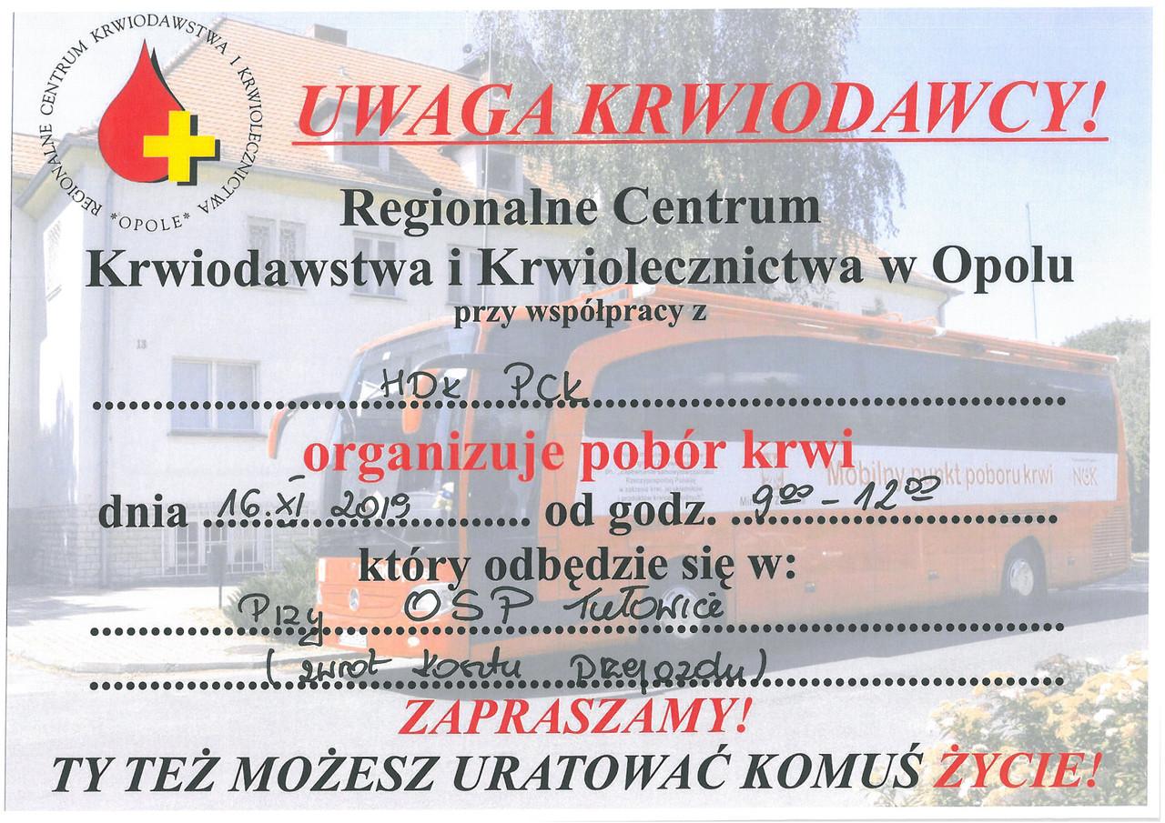 Uwaga krwiodawcy pobór krwi - 16.11.2019 r.jpeg