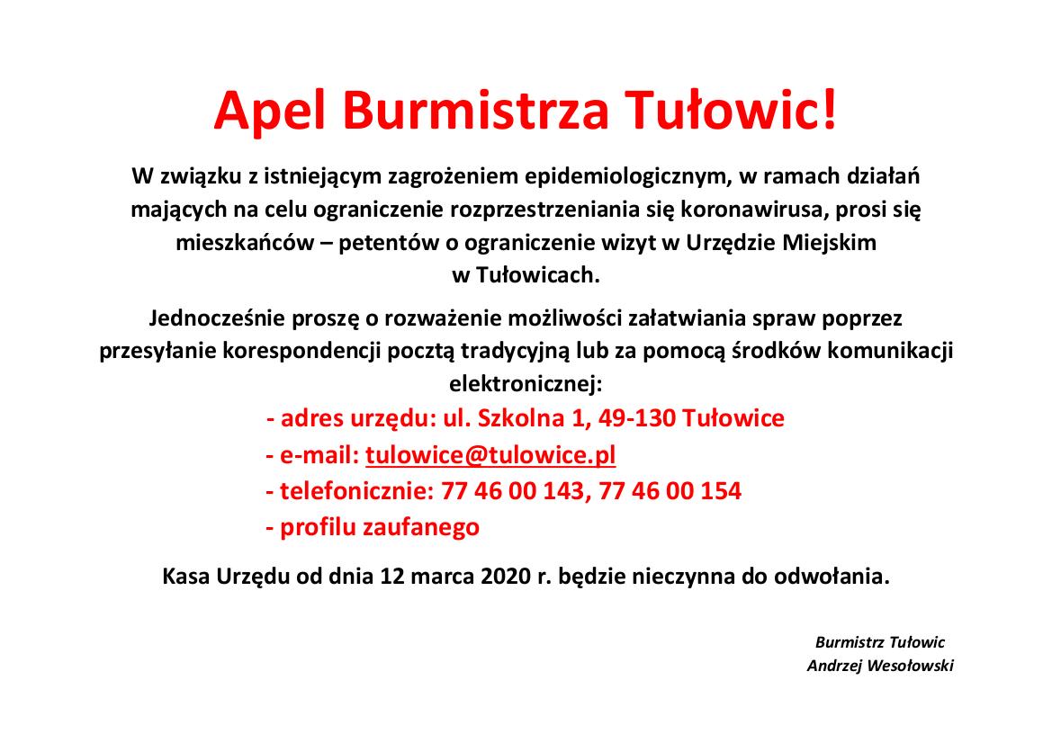 Apel Burmistrza Tułowic z dnia 12.03.2020 r.png