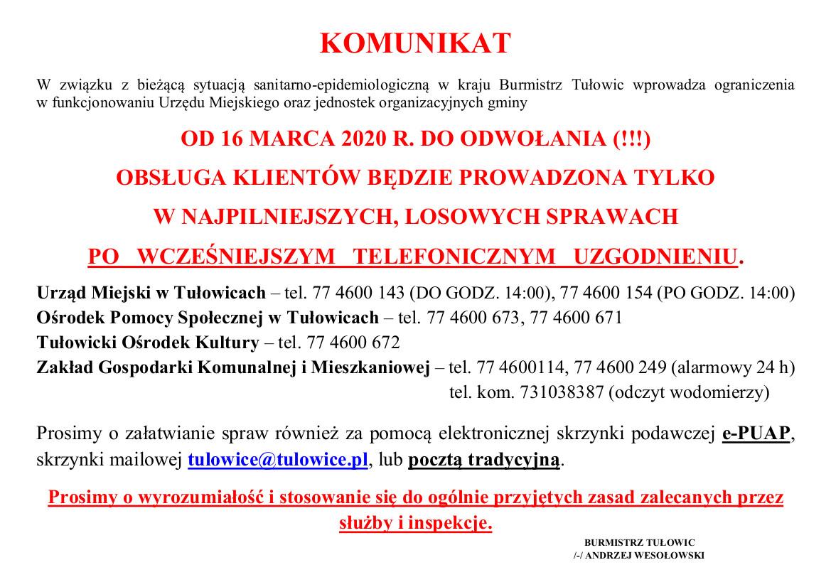 Komunikat Burmistrza Tułowic z dnia 13.03.2020 r.jpeg